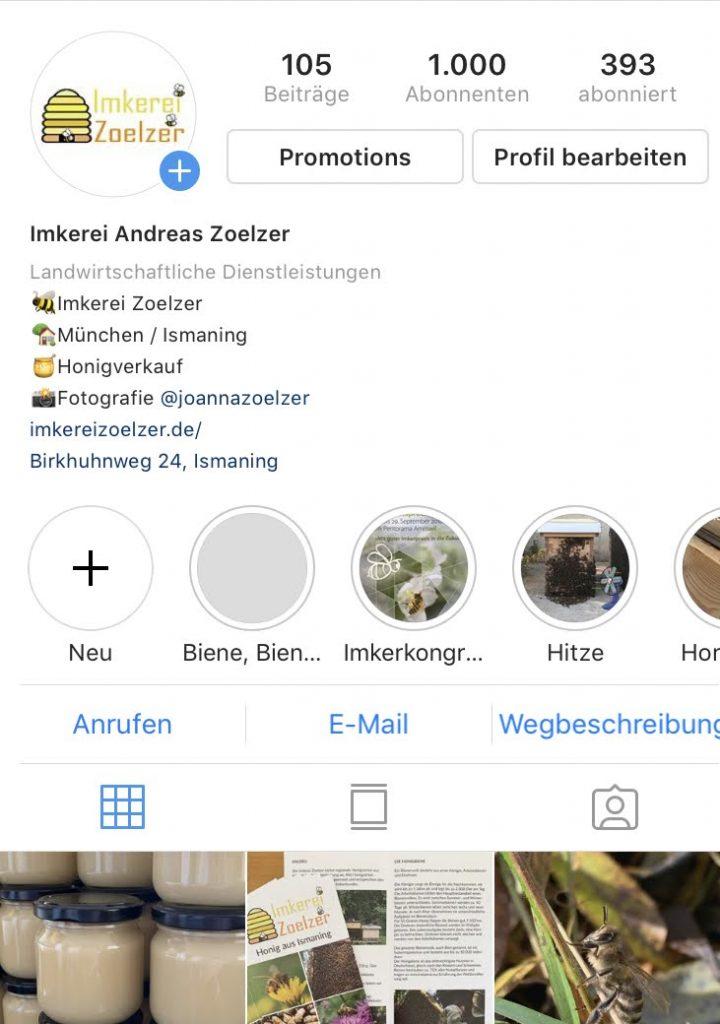 Instagram-Profil der Imkerei Zoelzer
